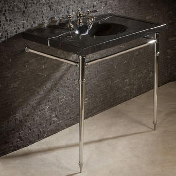 Консоль с раковиной Stone Forest  Арт. C90-36SK NM (Nero Marquina) Vintage & LS2TLSFV36 PC (Polished Chrome) Console C90-36SK NM and LS2TLSFV36 PC